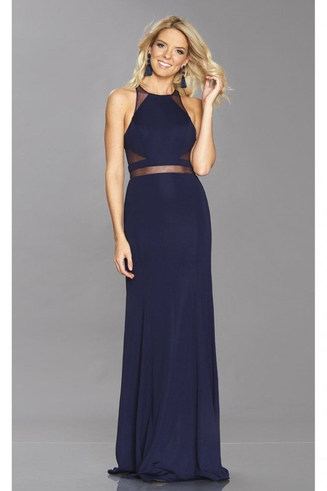 Tiffanys Illusion Prom Navy Geri Mesh Insert Fitted Dress