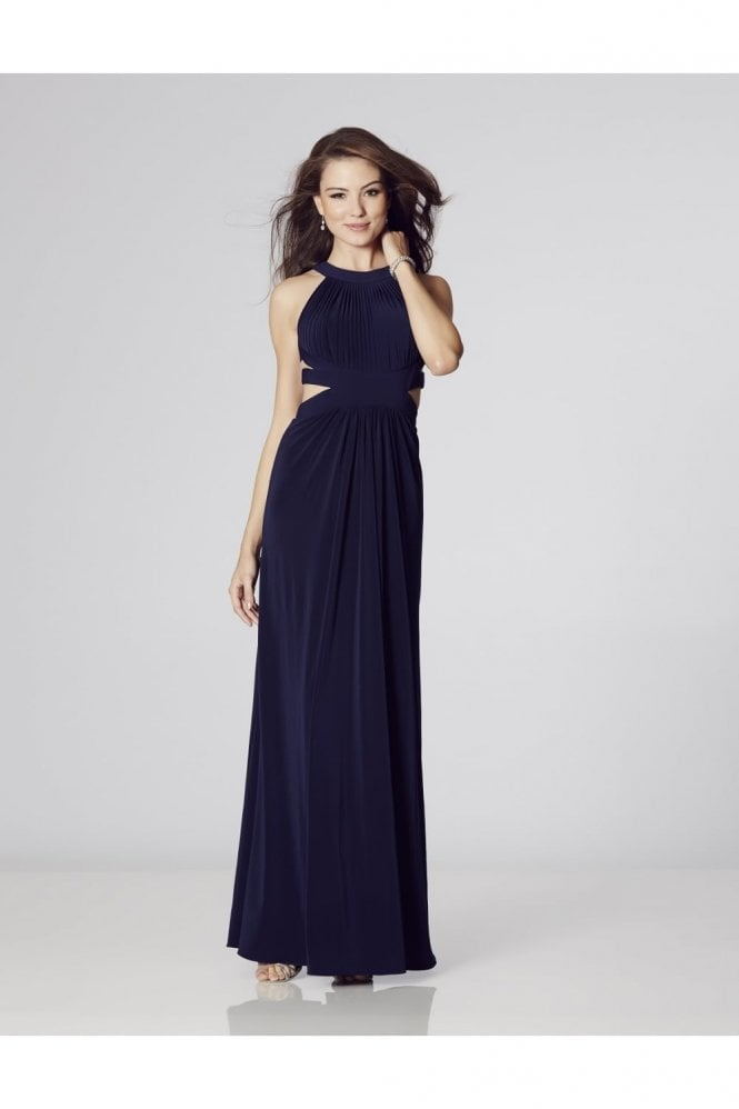 Navy Hillary Open Back Cut Away Side Dress