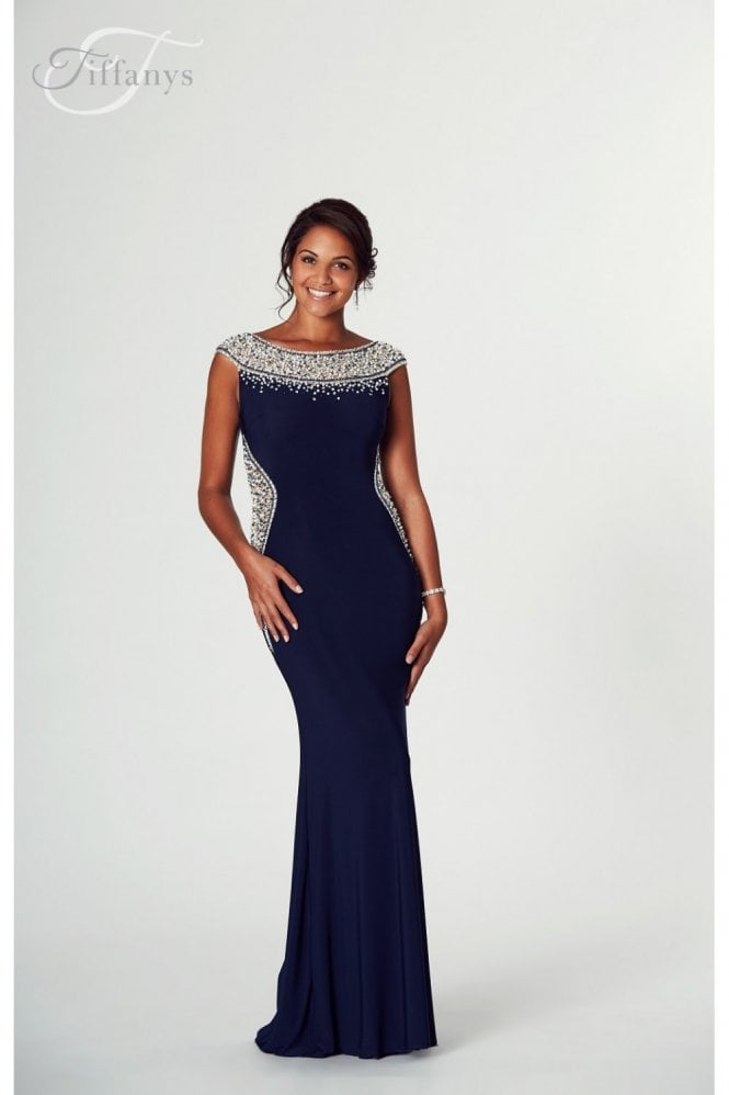 Tiffanys Illusion Prom Navy Izzy beaded neckline Prom Dress
