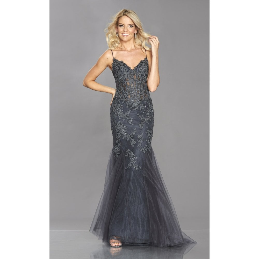 Tiffanys Illusion Prom Navy Jojo Scalloped Lace Edge Mermaid Dress