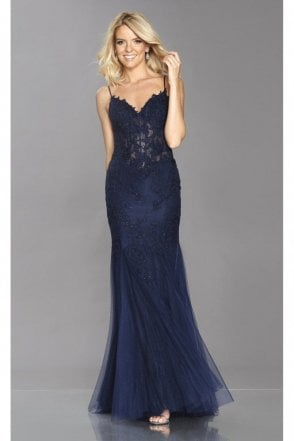 Navy Jojo scalloped lace edge mermaid dress