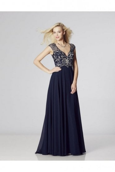 Navy Karen Beaded,Sheer Back dress & Chiffon Skirt