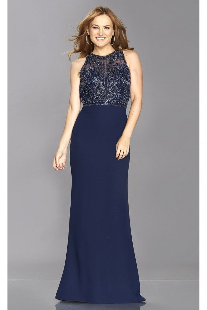 Tiffanys Illusion Prom Navy Kelsie Beaded Top Open Back Gown