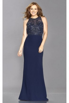 Navy Kelsie Beaded Top Open Back Gown