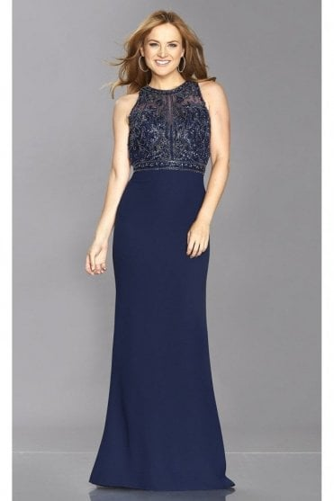 Navy Kelsie Tiffany Illusion Beaded Top Open Back Gown