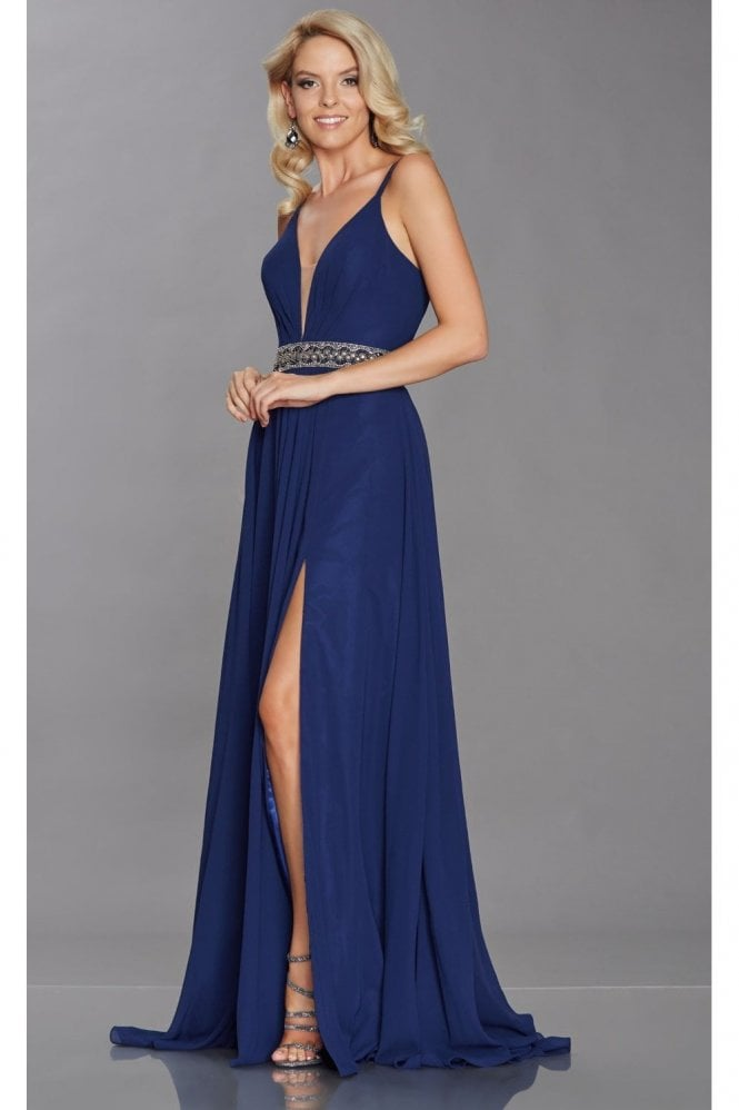Tiffanys Illusion Prom Navy Laurelle double strap chiffon dress