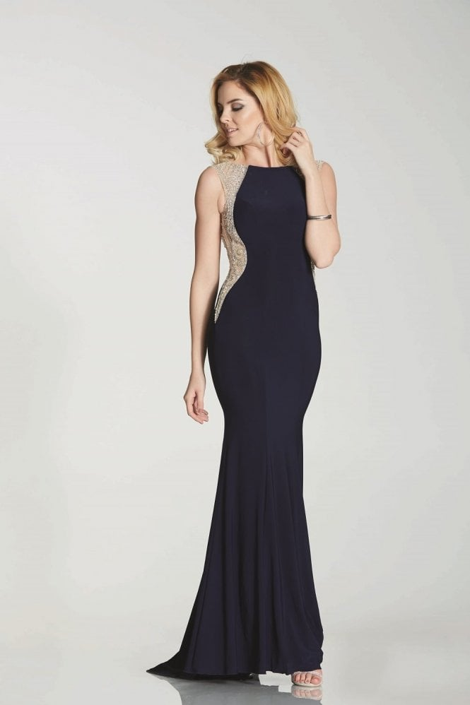 Tiffanys Illusion Prom Navy Mila Jersey Open Back Gown