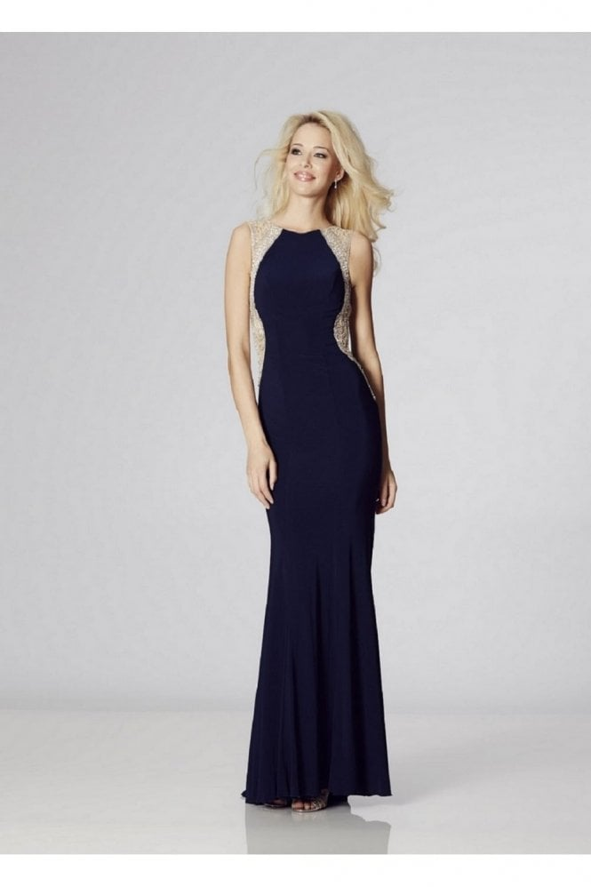 Navy Mila Jersey Open Back Gown