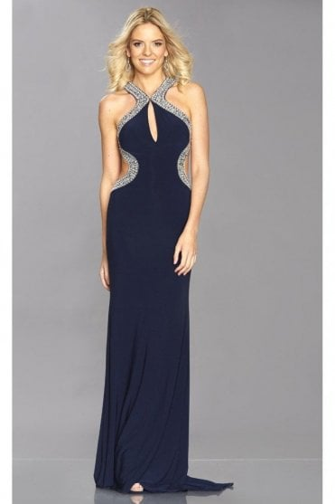 Navy Nancy Jewelled Open back dress
