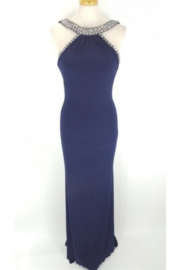 Navy Paula Low Back Dress with Crystal trim