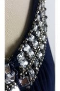 Tiffanys Illusion Prom Navy Paula Low Back Dress with Crystal trim