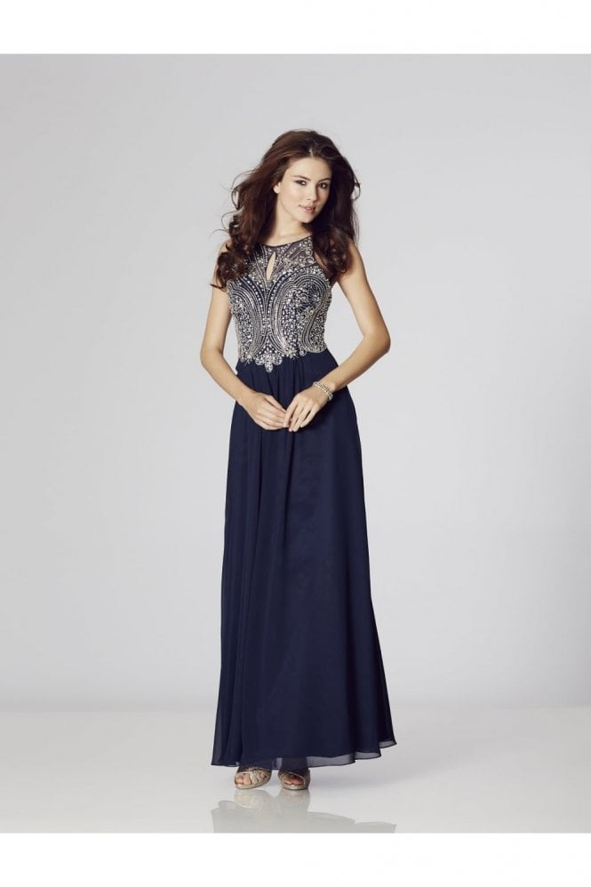 Tiffanys Illusion Prom Navy Perryn Chiffon Gown with Silver Crystals