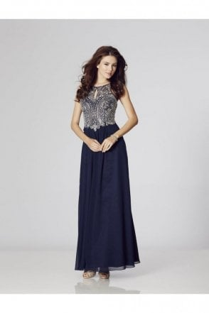 Navy Perryn Chiffon Gown with Silver Crystals