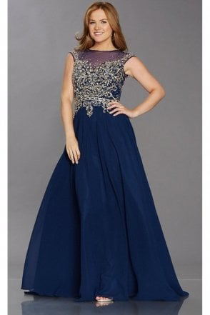 Navy Pippa heavily beaded bodice dress