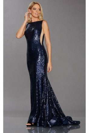 Navy Pixie Sequinned Gown
