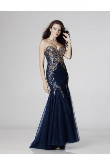 Navy Ronnie Beaded Mermaid Style Gown