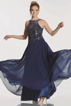 Navy Rosalie beaded bodice chiffon dress