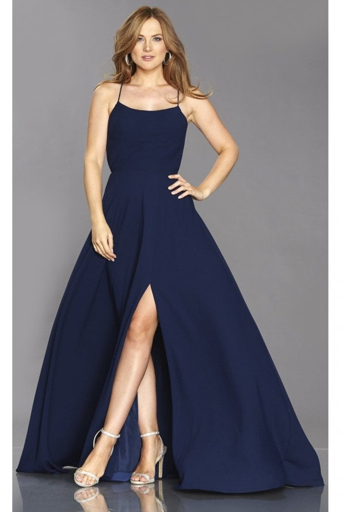 Tiffanys Illusion Prom Navy Sabrina high leg split dress