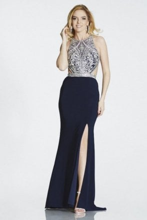 Navy Samira beaded open back tie gown