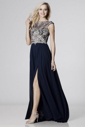 Navy Sunny Sheer & Crystal Chiffon Gown