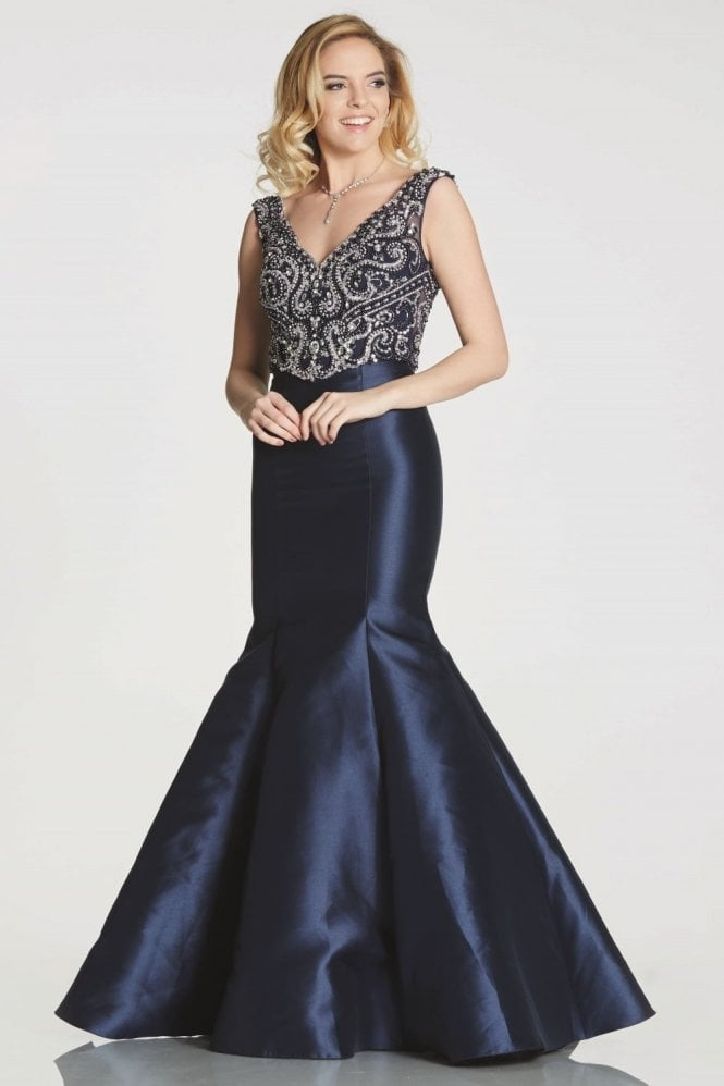 Tiffanys Illusion Prom Navy Tamzen fitted fishtail dress with jewelled bodice