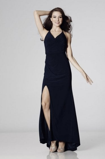 Navy Tara Crossover Back Evening Dress
