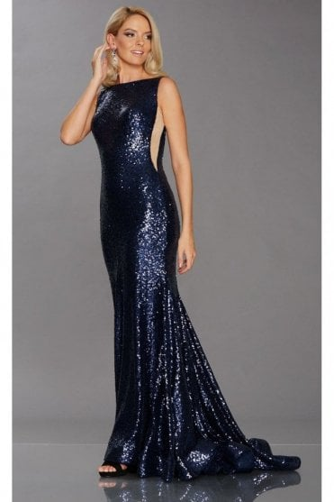 Navy Tiffany Illusion Pixie Sequinned Gown