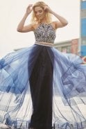 Tiffanys Illusion Prom Navy Trinity 2 piece dress with beaded top & net tulle skirt