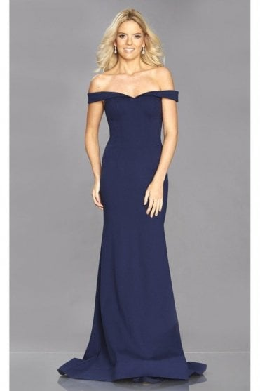 Navy Vivienne off the shoulder body con dress