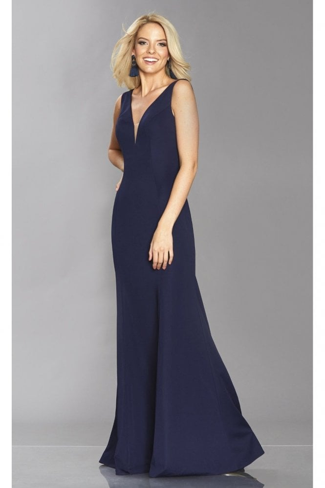 Tiffanys Illusion Prom Navy Zara figure hugging v dress
