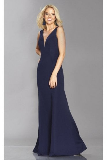 Navy Zara figure hugging v dress