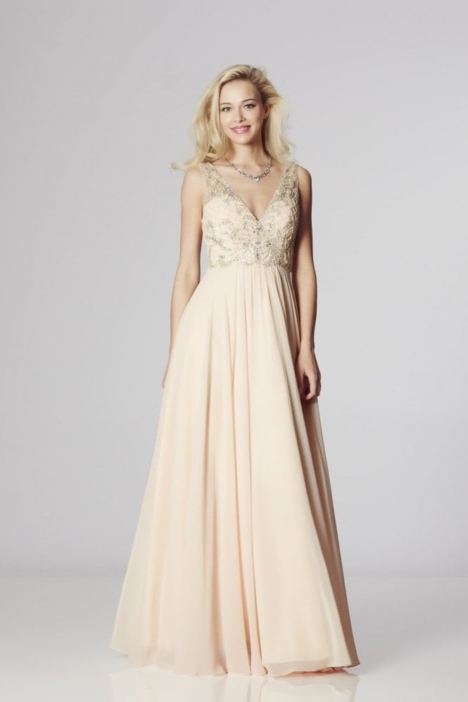 Nude Clarissa Chiffon Evening Dress