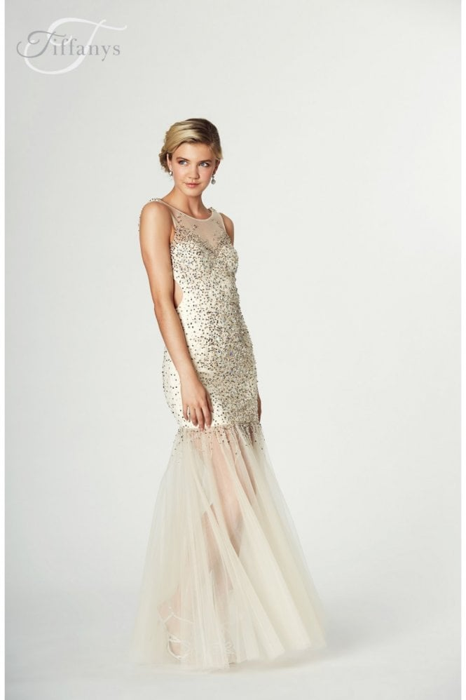 Tiffanys Illusion Prom Nude Erin Prom Dress with Sheer Skirt