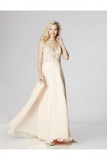 Nude Karen Beaded,Sheer Back dress & Chiffon Skirt