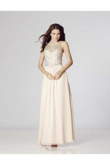 Nude Perryn Chiffon Gown with Silver Crystals