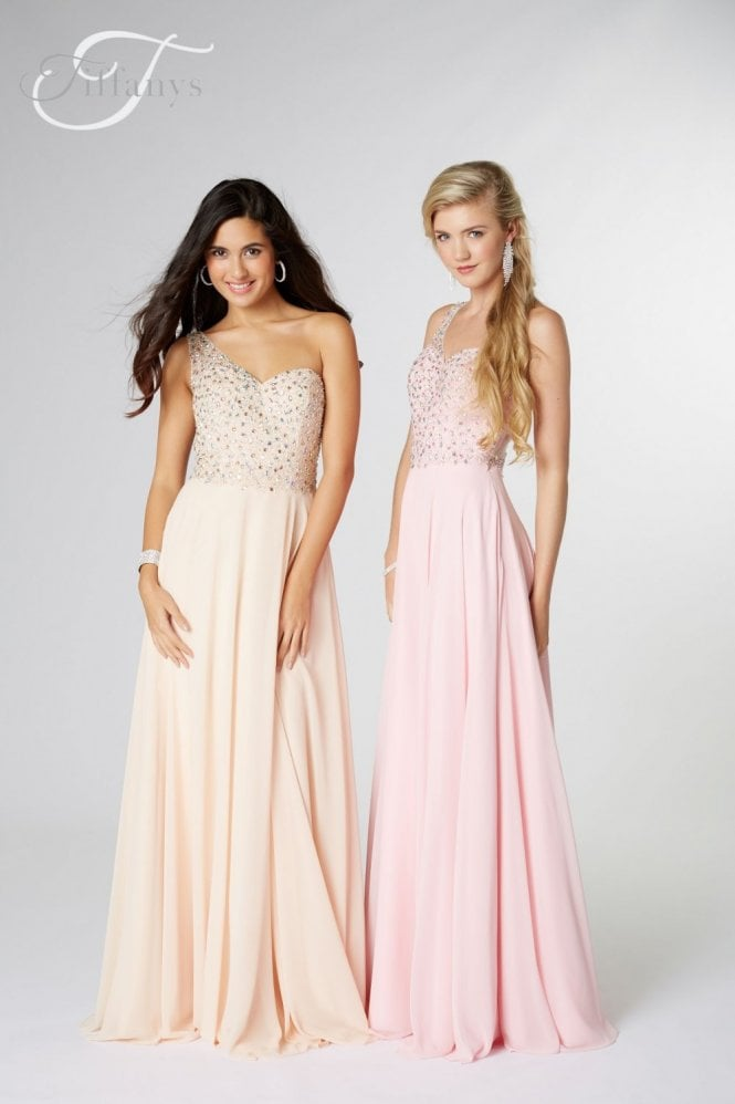Tiffanys Illusion Prom Nude Peyton one shoulder Prom Dress