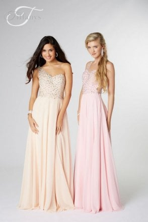 Nude Peyton one shoulder Prom Dress