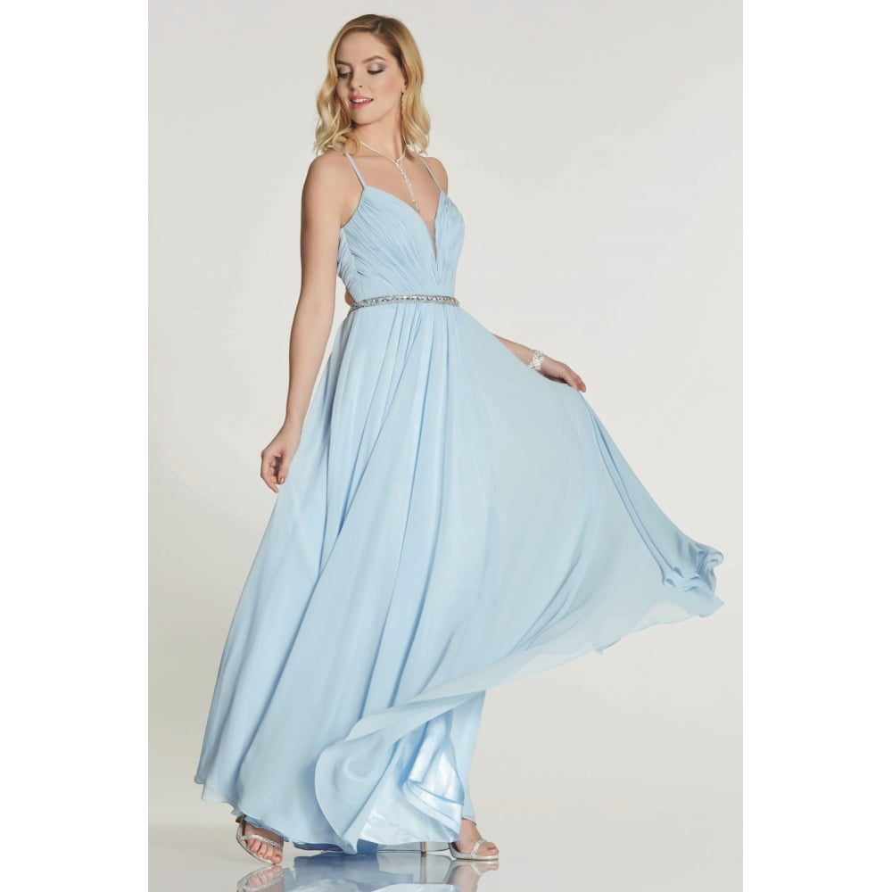 choose original factory good out x Tiffanys Illusion Prom Pale Blue Adriana chiffon gown with beaded waist