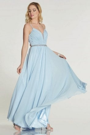Pale Blue Adriana chiffon gown with beaded waist