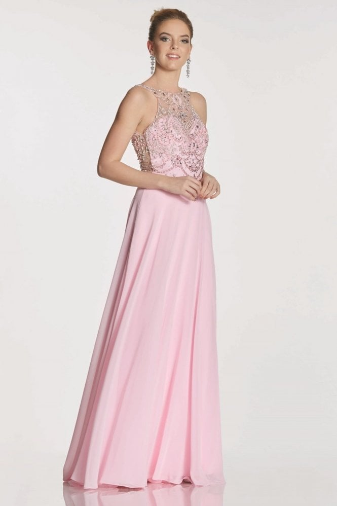 Tiffanys Illusion Prom Pale Pink Rosalie beaded bodice chiffon dress