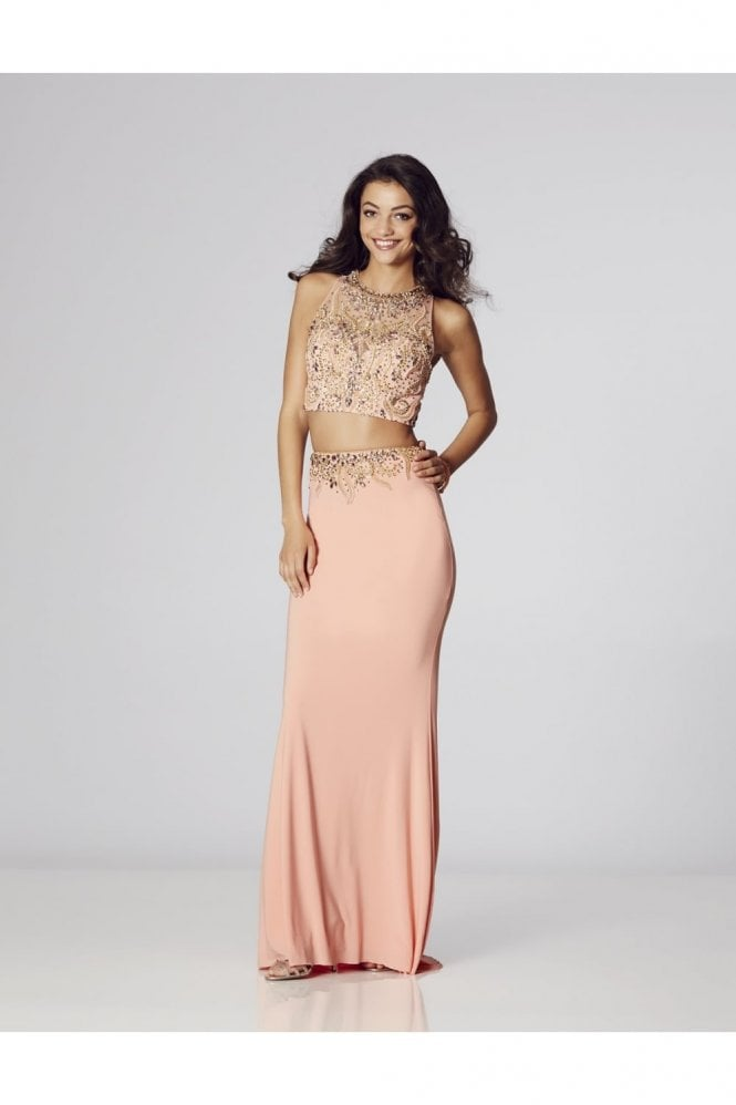 Peach Lorena Beaded Two Piece Gown