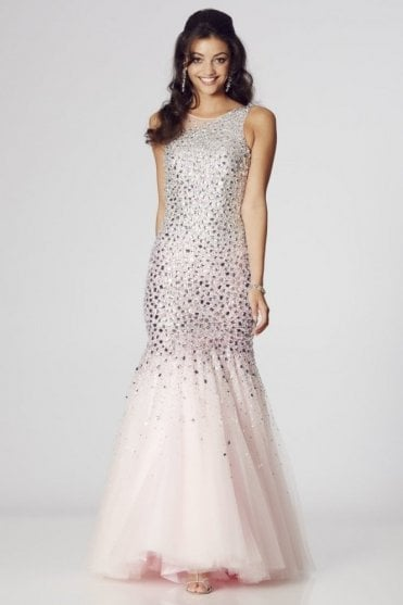 Pink Khaleesi rhinestone jewelled mermaid prom dress