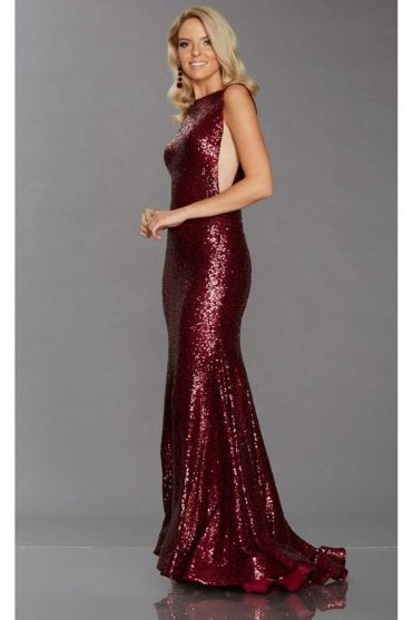 Pixie Wine Sequinned Gown