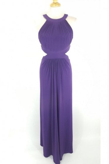 Purple Hillary Open Back Cut Away Side Dress