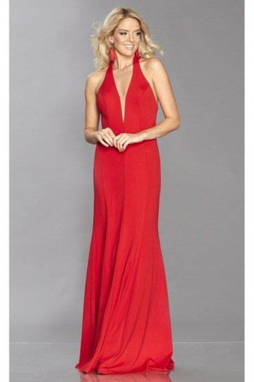 Red Anna heavy jersey open back dress