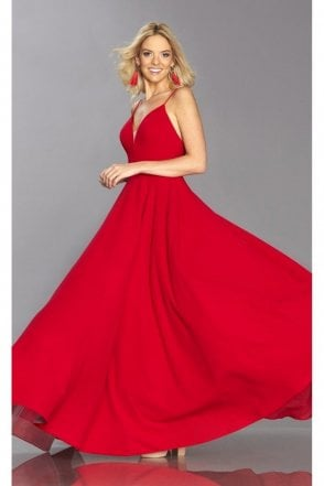 Red Bella full skirted dress with pockets