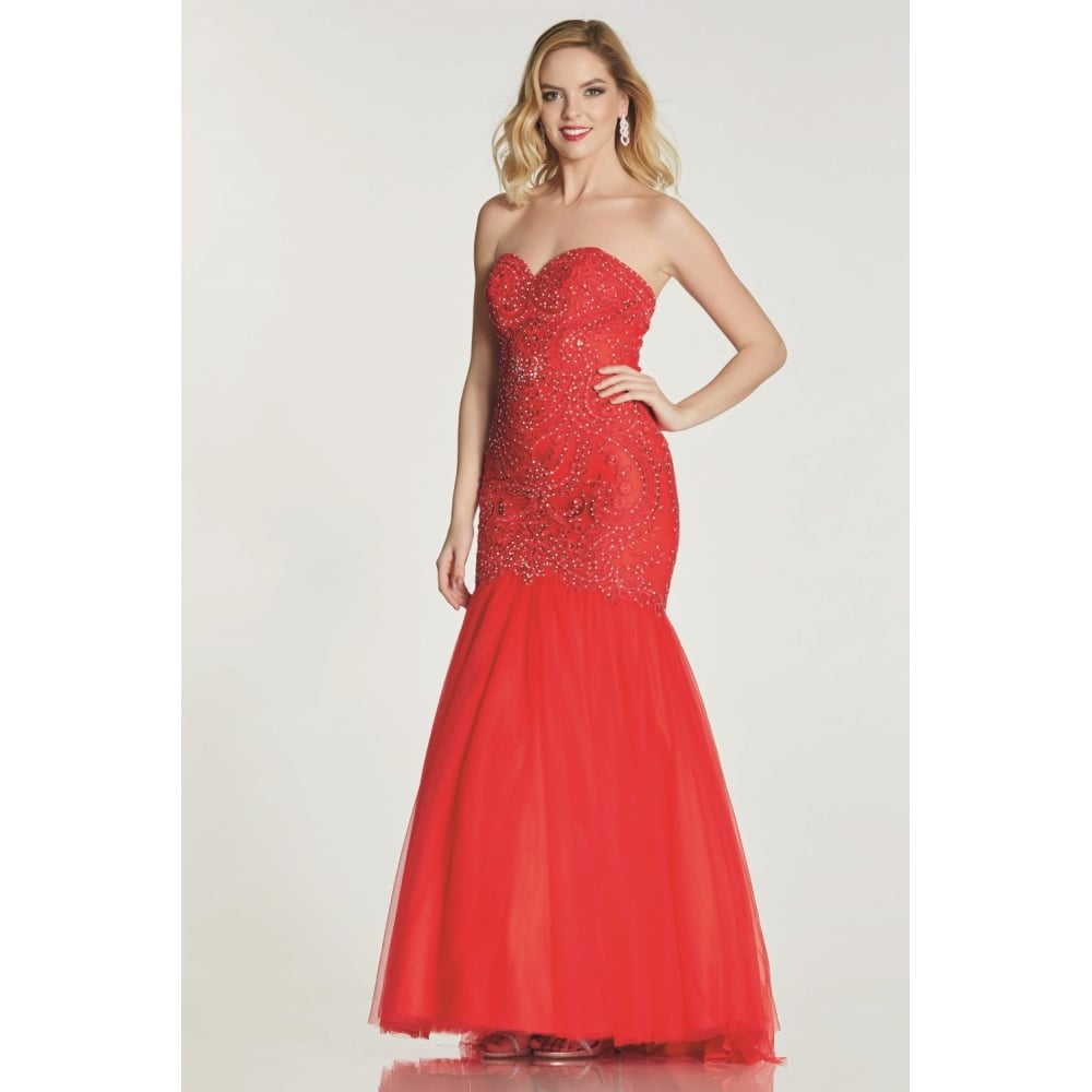 5cb0bdd4274 Tiffany Illusion Prom Blondie Evening Fishtail Dress in Red at Cargo