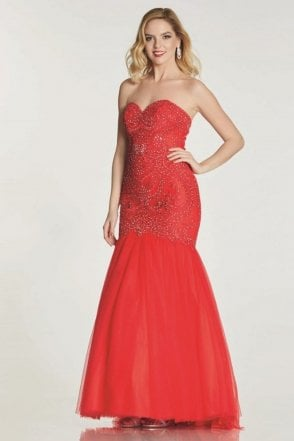 Red Blondie Lace Net Fishtail Dress