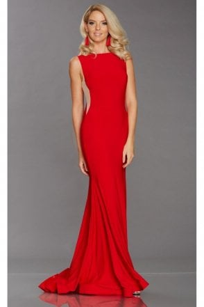 Red Brooke fitted high neck dress
