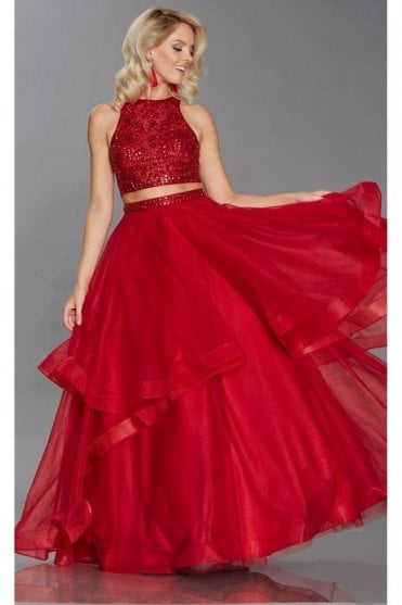 Red Cristie 2 piece beaded top & net skirt